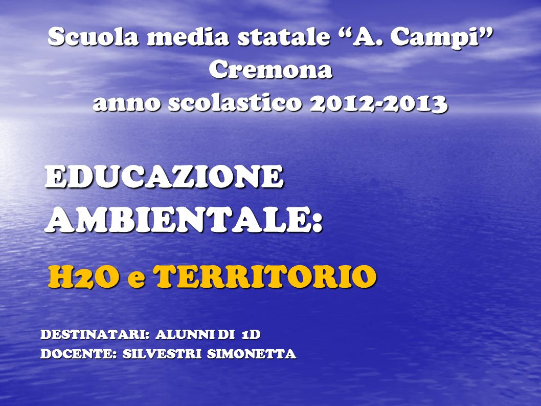 Scuola media statale A. Campi Cremona anno scolastico 2012-2013