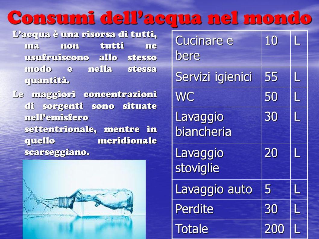 Consumi dell'acqua nel mondo