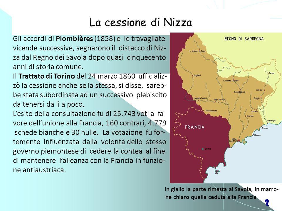 La cessione di Nizza Gli accordi di Plombières (1858) e le travagliate. vicende successive, segnarono il distacco di Niz-