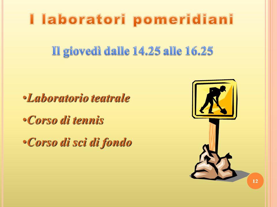 I laboratori pomeridiani