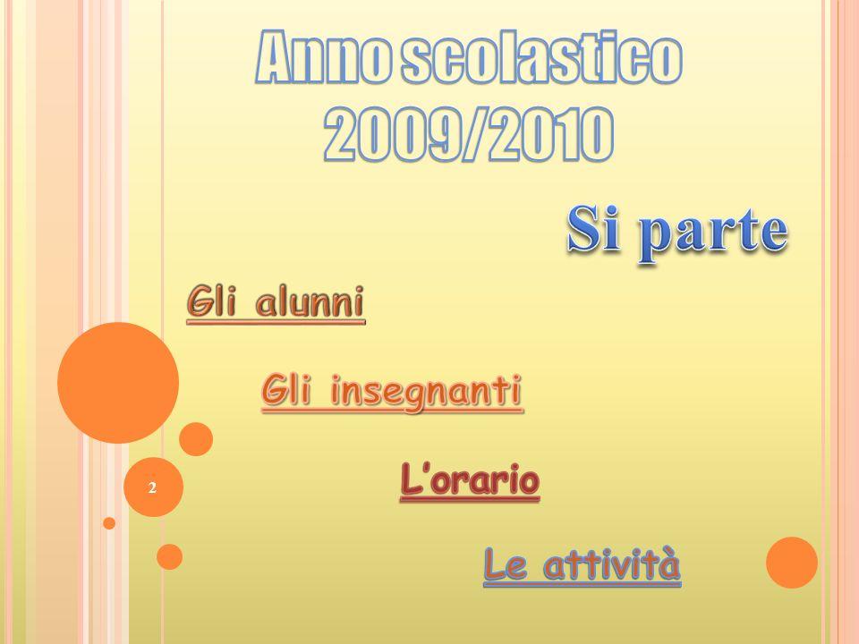 Anno scolastico 2009/2010 Si parte Gli alunni Gli insegnanti