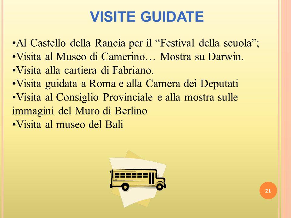 VISITE GUIDATE Al Castello della Rancia per il Festival della scuola ; Visita al Museo di Camerino… Mostra su Darwin.