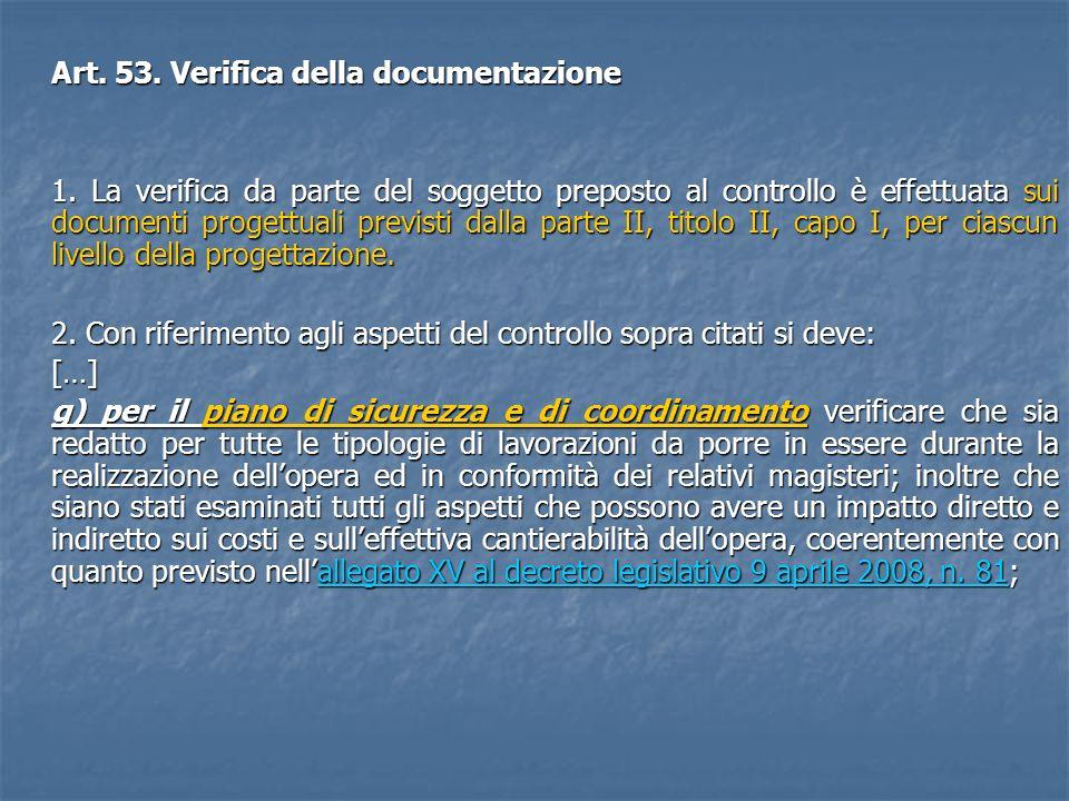 Art. 53. Verifica della documentazione