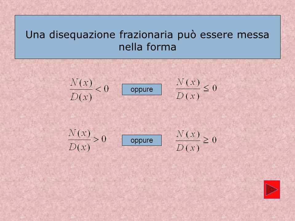Una disequazione frazionaria può essere messa nella forma