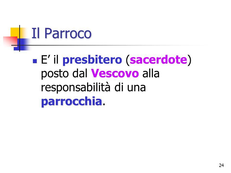 Il Parroco E' il presbitero (sacerdote) posto dal Vescovo alla responsabilità di una parrocchia.