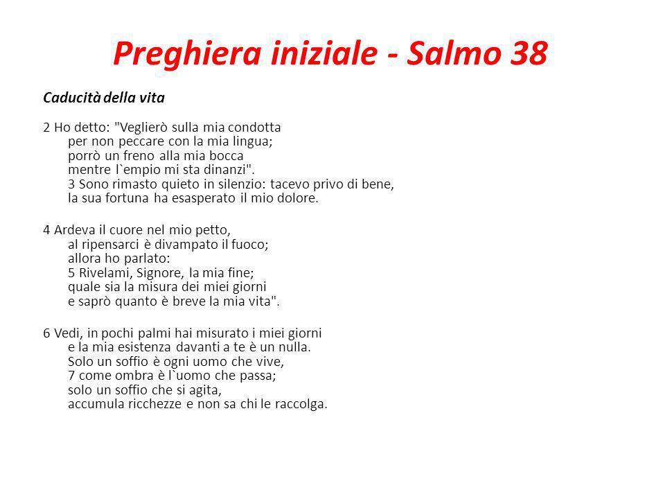 Preghiera iniziale - Salmo 38