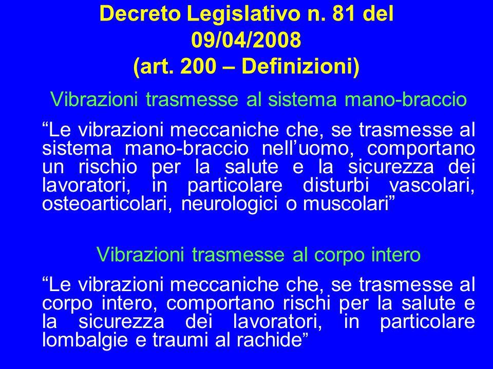Decreto Legislativo n. 81 del 09/04/2008 (art. 200 – Definizioni)