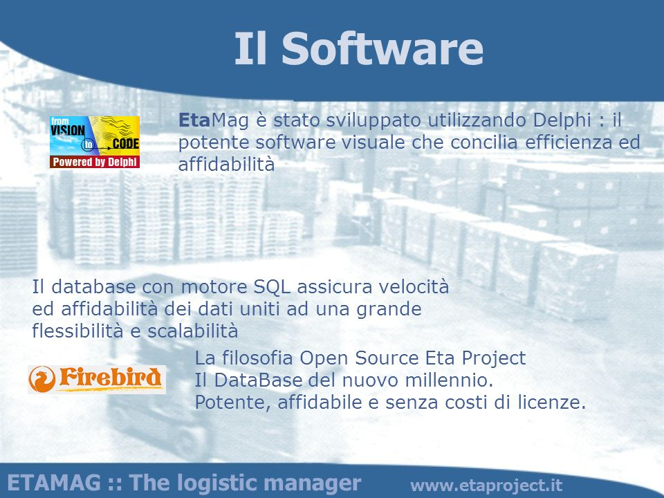 Il Software ETAMAG :: The logistic manager