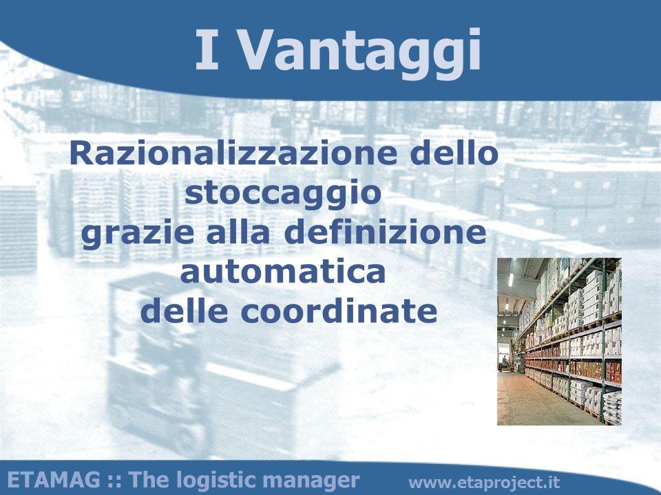 I Vantaggi Razionalizzazione dello stoccaggio grazie alla definizione automatica delle coordinate.