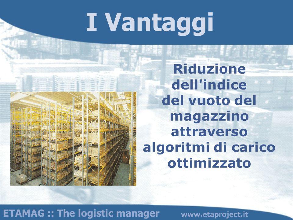 I Vantaggi Riduzione dell indice del vuoto del magazzino attraverso algoritmi di carico ottimizzato.