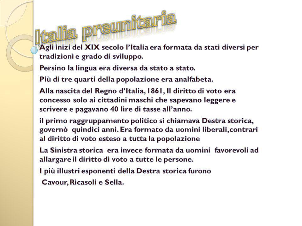 Italia preunitaria Agli inizi del XIX secolo l'Italia era formata da stati diversi per tradizioni e grado di sviluppo.