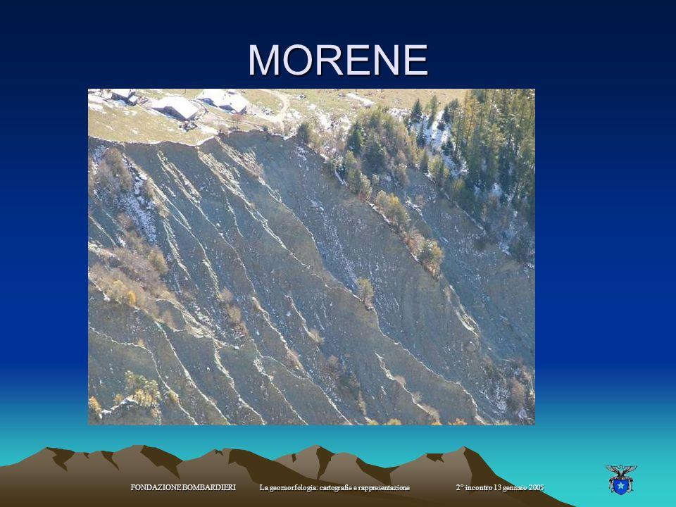 MORENE FONDAZIONE BOMBARDIERI La geomorfologia: cartografie e rappresentazione 2° incontro 13 gennaio 2005.