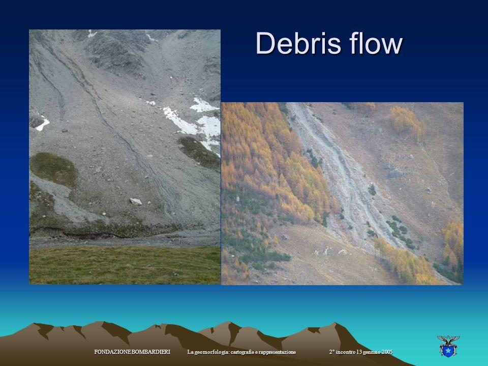 Debris flow FONDAZIONE BOMBARDIERI La geomorfologia: cartografie e rappresentazione 2° incontro 13 gennaio 2005.