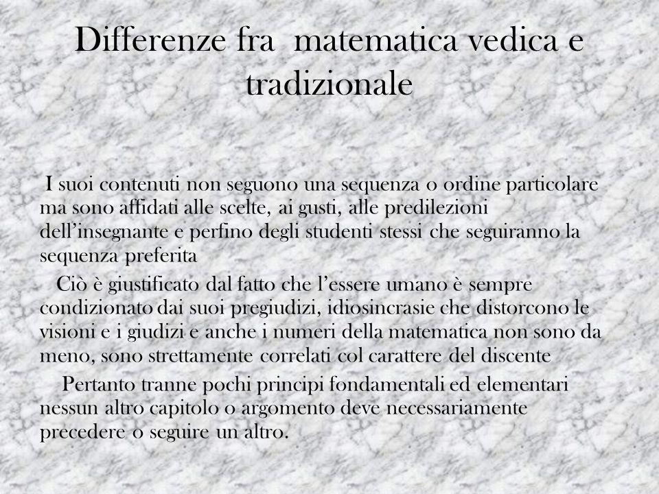 Differenze fra matematica vedica e tradizionale