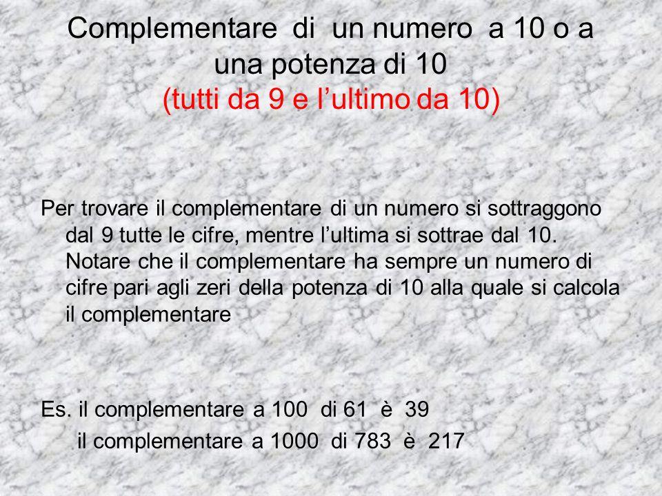 Complementare di un numero a 10 o a una potenza di 10 (tutti da 9 e l'ultimo da 10)