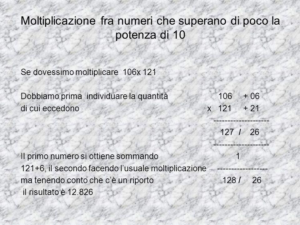 Moltiplicazione fra numeri che superano di poco la potenza di 10