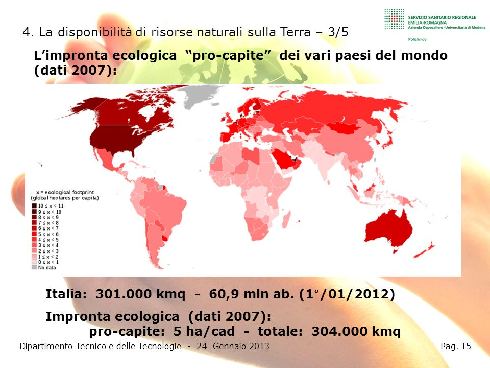 pro-capite: 5 ha/cad - totale: 304.000 kmq