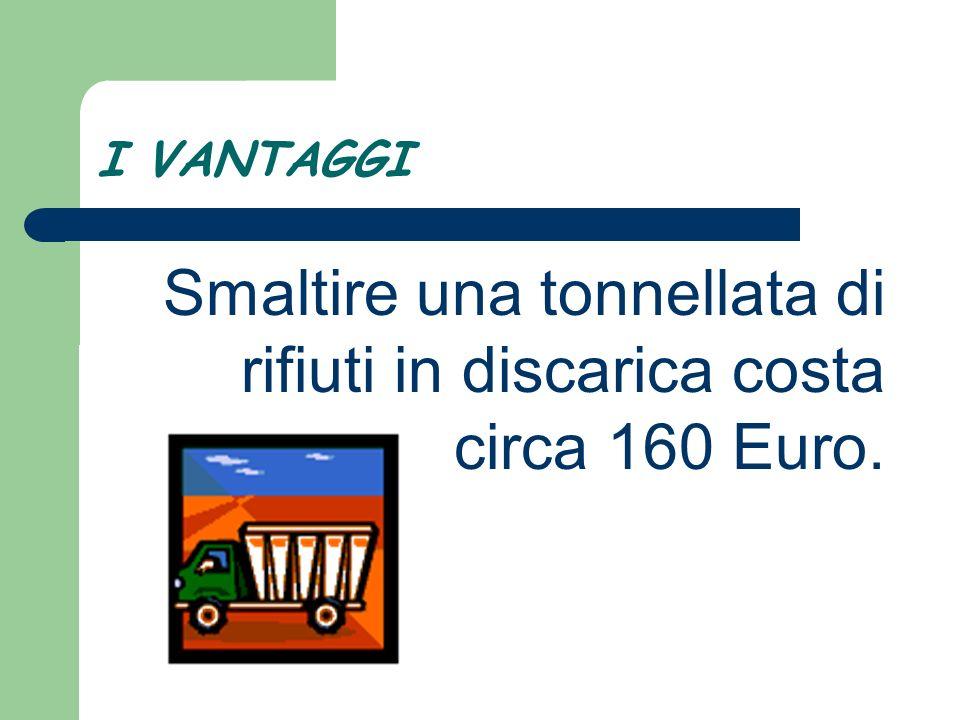 Smaltire una tonnellata di rifiuti in discarica costa circa 160 Euro.