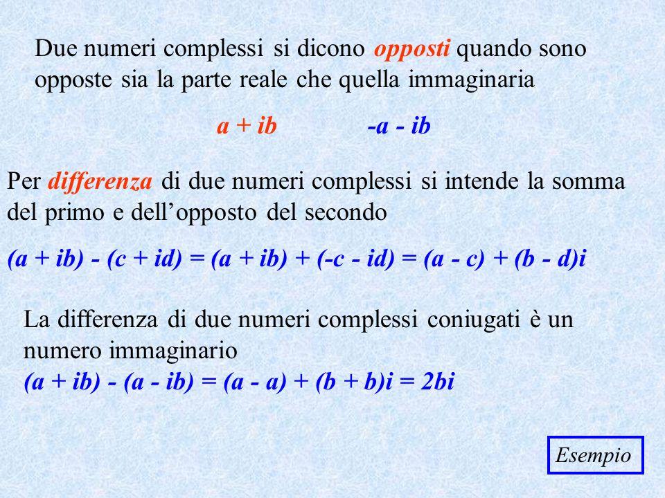 (a + ib) - (c + id) = (a + ib) + (-c - id) = (a - c) + (b - d)i