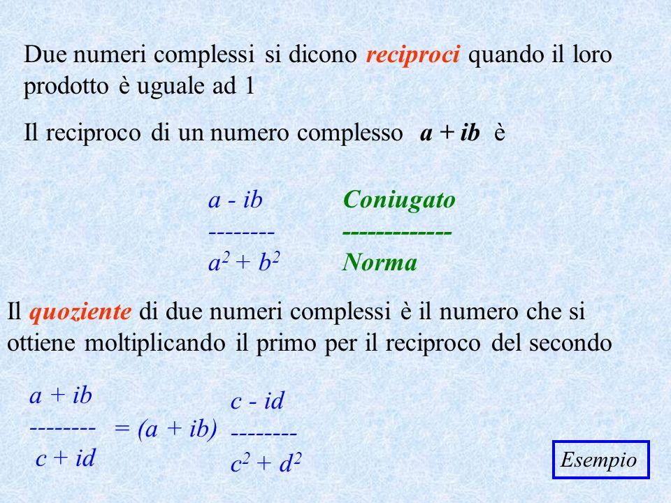 Il reciproco di un numero complesso a + ib è