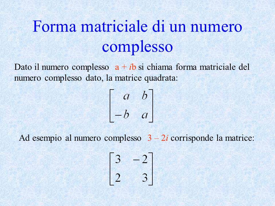 Forma matriciale di un numero complesso
