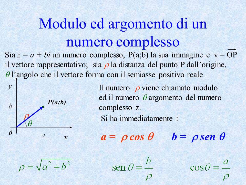 Modulo ed argomento di un numero complesso