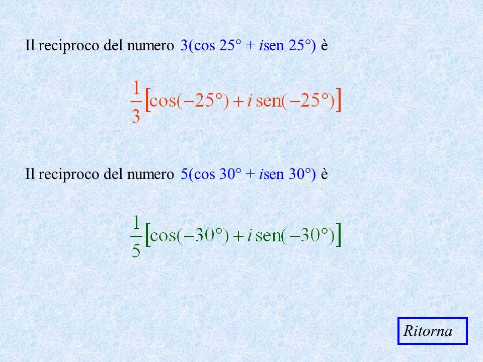 Il reciproco del numero 3(cos 25° + isen 25°) è