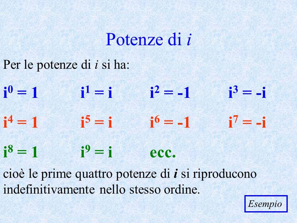 Potenze di i i0 = 1 i1 = i i2 = -1 i3 = -i