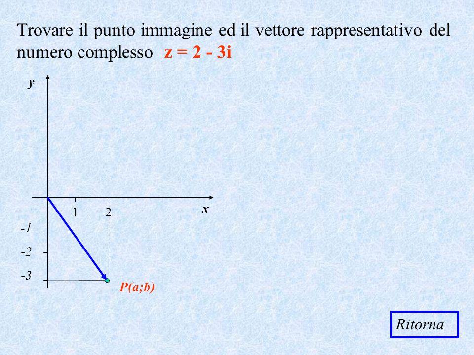 Trovare il punto immagine ed il vettore rappresentativo del numero complesso z = 2 - 3i