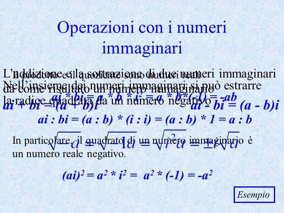 Operazioni con i numeri immaginari
