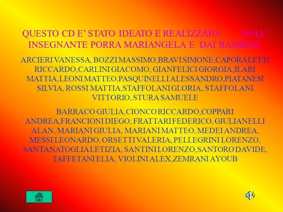 QUESTO CD E' STATO IDEATO E REALIZZATO DALL' INSEGNANTE PORRA MARIANGELA E DAI BAMBINI: