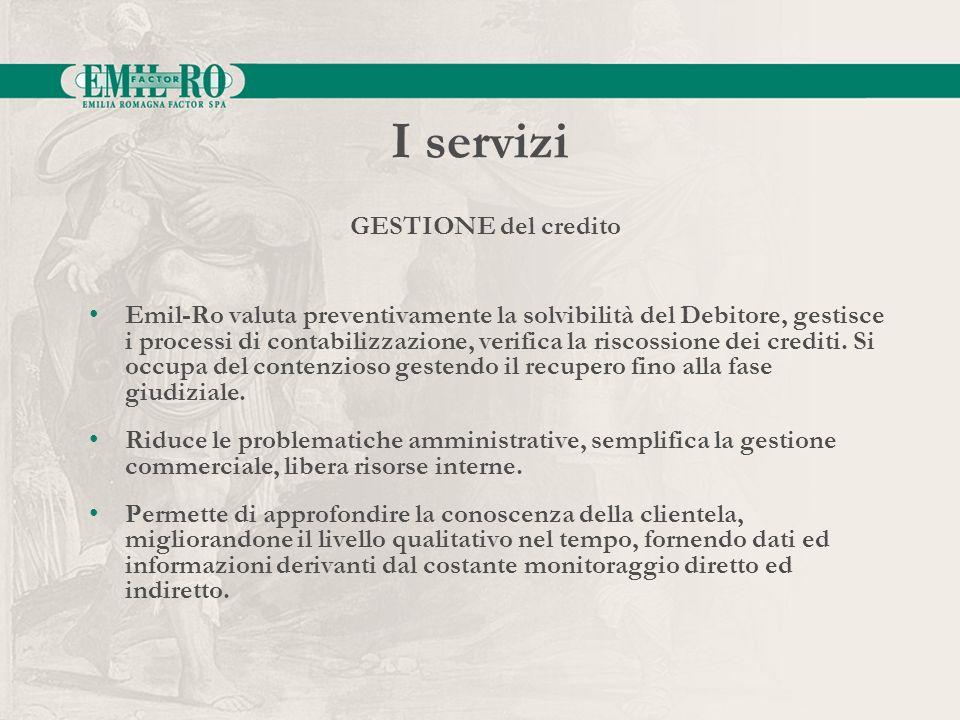 I servizi GESTIONE del credito