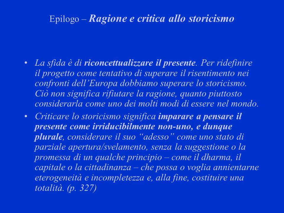 Epilogo – Ragione e critica allo storicismo