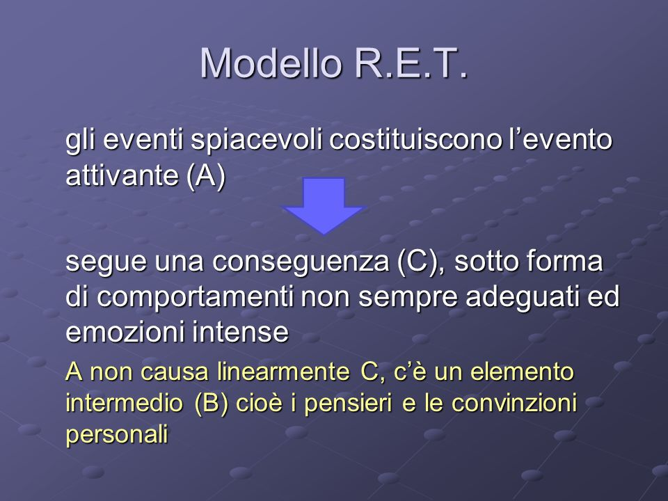 Modello R.E.T. gli eventi spiacevoli costituiscono l'evento attivante (A)