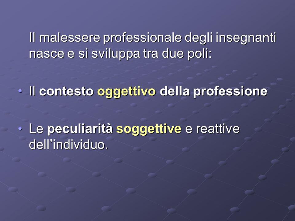 Il malessere professionale degli insegnanti nasce e si sviluppa tra due poli: