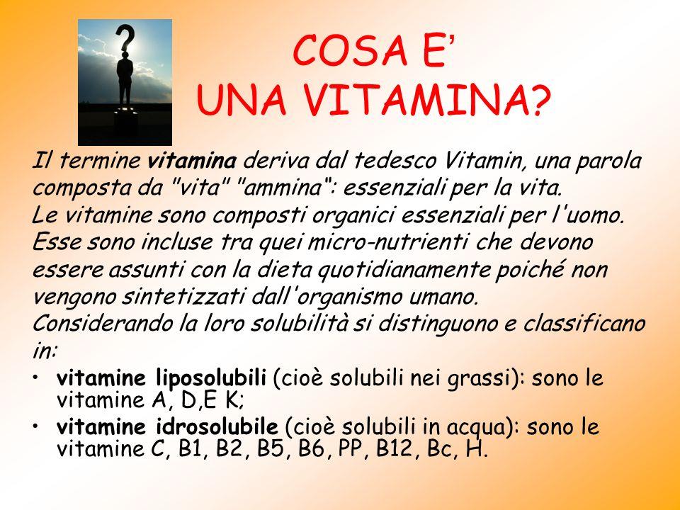 COSA E' UNA VITAMINA Il termine vitamina deriva dal tedesco Vitamin, una parola. composta da vita ammina : essenziali per la vita.