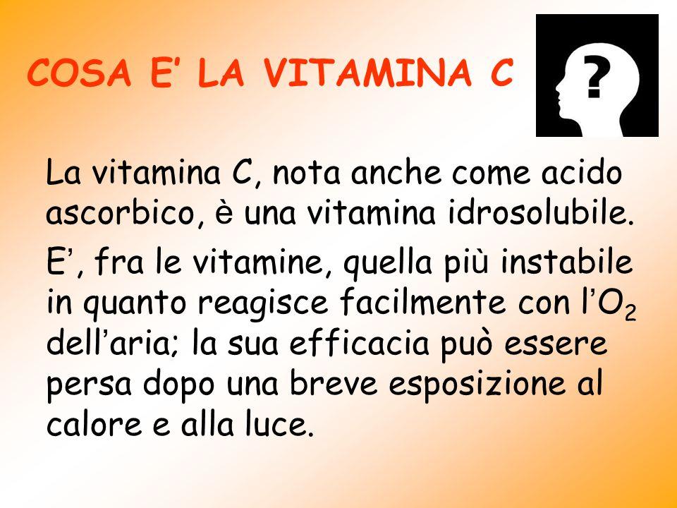 COSA E' LA VITAMINA C La vitamina C, nota anche come acido ascorbico, è una vitamina idrosolubile.