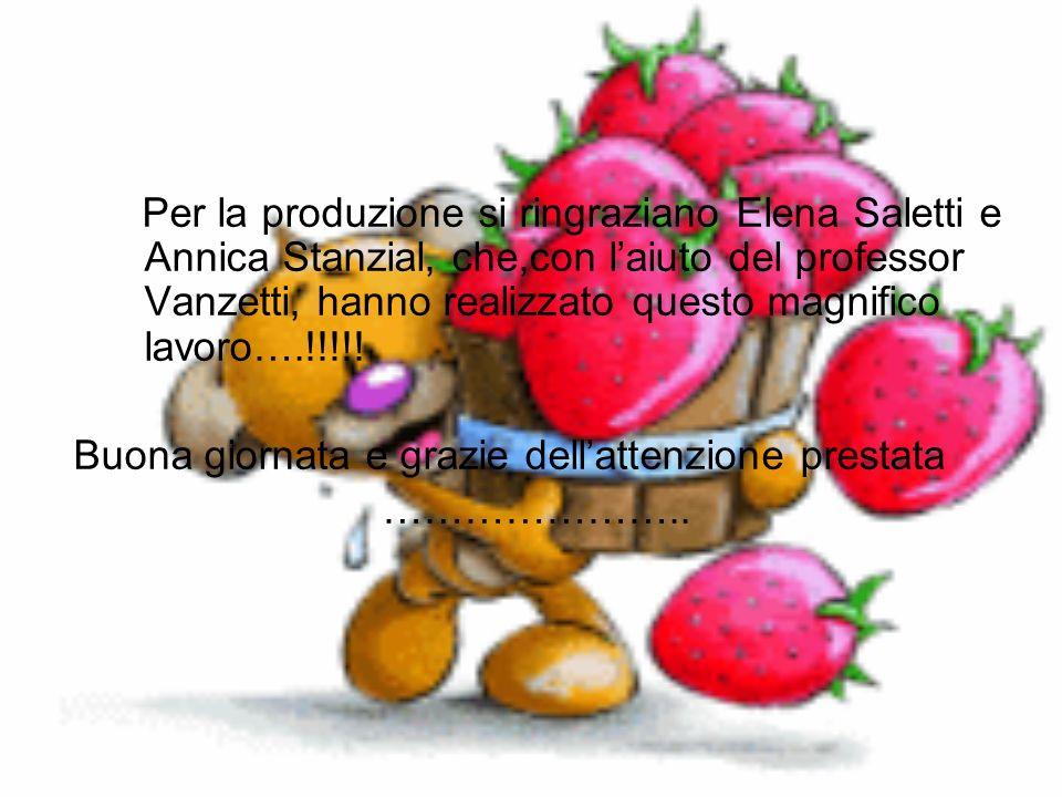 Per la produzione si ringraziano Elena Saletti e Annica Stanzial, che,con l'aiuto del professor Vanzetti, hanno realizzato questo magnifico lavoro….!!!!!