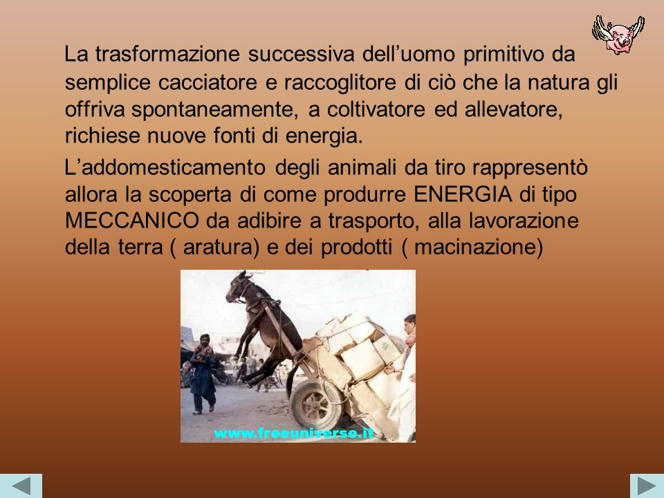 La trasformazione successiva dell'uomo primitivo da semplice cacciatore e raccoglitore di ciò che la natura gli offriva spontaneamente, a coltivatore ed allevatore, richiese nuove fonti di energia.