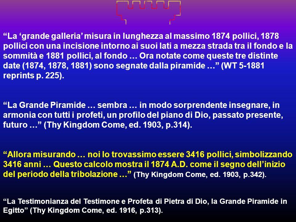 La 'grande galleria' misura in lunghezza al massimo 1874 pollici, 1878 pollici con una incisione intorno ai suoi lati a mezza strada tra il fondo e la sommità e 1881 pollici, al fondo … Ora notate come queste tre distinte date (1874, 1878, 1881) sono segnate dalla piramide … (WT 5-1881 reprints p. 225).