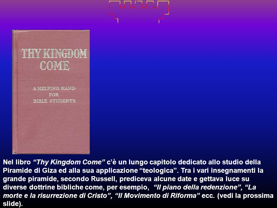 Nel libro Thy Kingdom Come c'è un lungo capitolo dedicato allo studio della Piramide di Giza ed alla sua applicazione teologica .