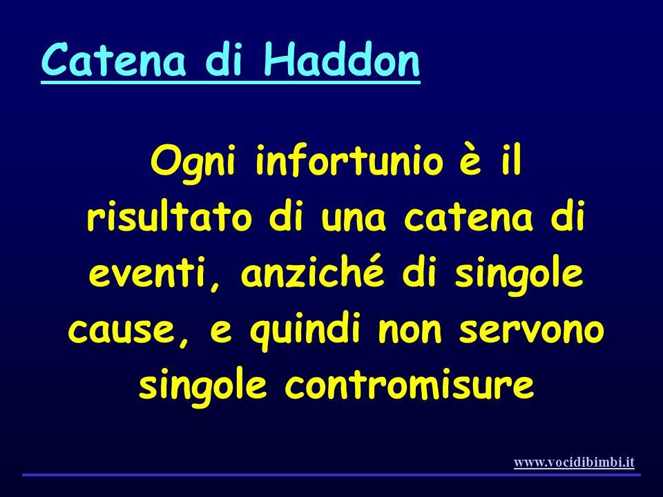 Catena di Haddon Ogni infortunio è il risultato di una catena di eventi, anziché di singole cause, e quindi non servono singole contromisure.