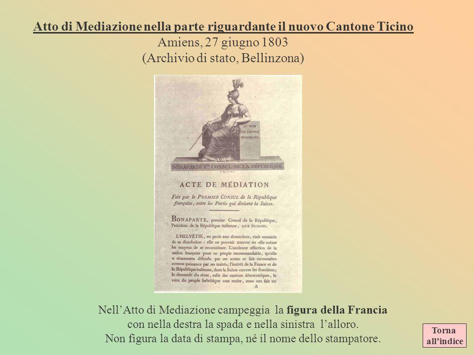 Atto di Mediazione nella parte riguardante il nuovo Cantone Ticino