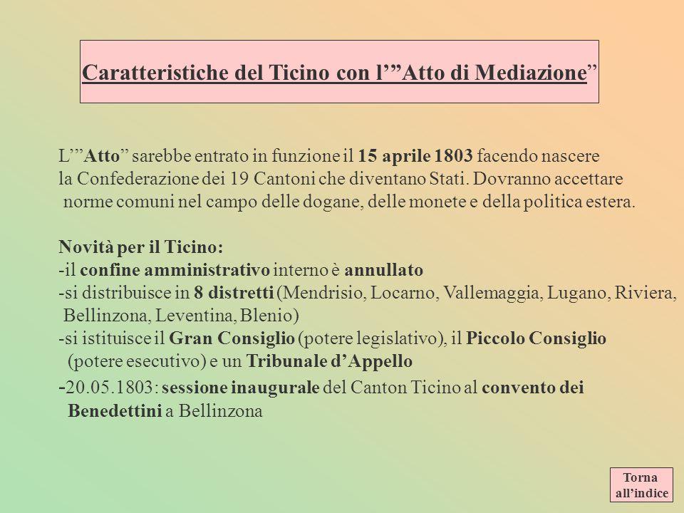 Caratteristiche del Ticino con l' Atto di Mediazione