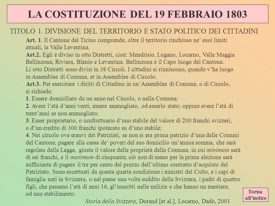 LA COSTITUZIONE DEL 19 FEBBRAIO 1803