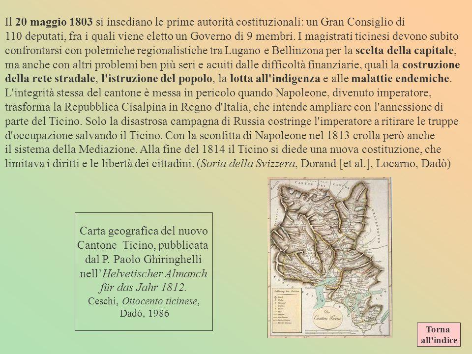 Carta geografica del nuovo Cantone Ticino, pubblicata