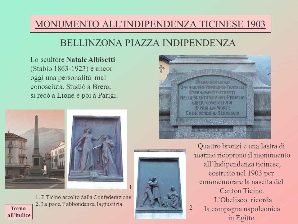 MONUMENTO ALL'INDIPENDENZA TICINESE 1903