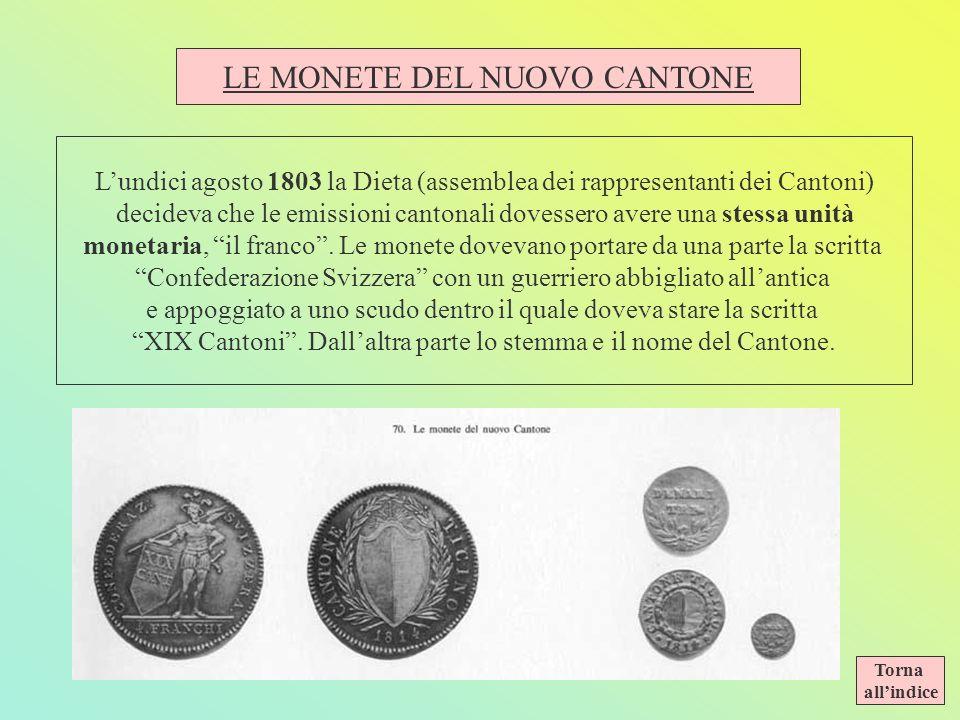 LE MONETE DEL NUOVO CANTONE