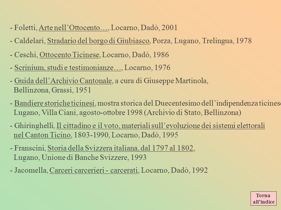 - Foletti, Arte nell'Ottocento…, Locarno, Dadò, 2001