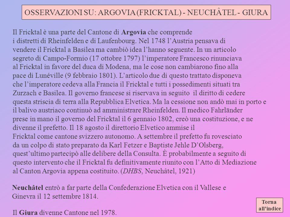 OSSERVAZIONI SU: ARGOVIA (FRICKTAL) - NEUCHÂTEL - GIURA